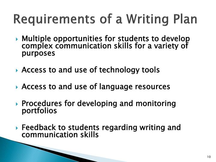 Requirements of a Writing Plan