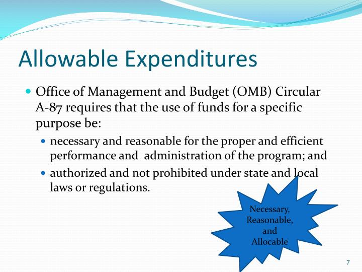 Allowable Expenditures