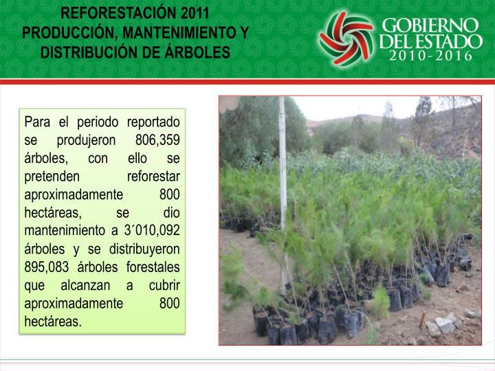 REFORESTACIÓN 2011 PRODUCCIÓN, MANTENIMIENTO Y DISTRIBUCIÓN DE ÁRBOLES