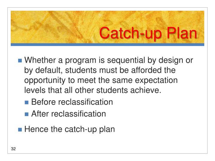 Catch-up Plan