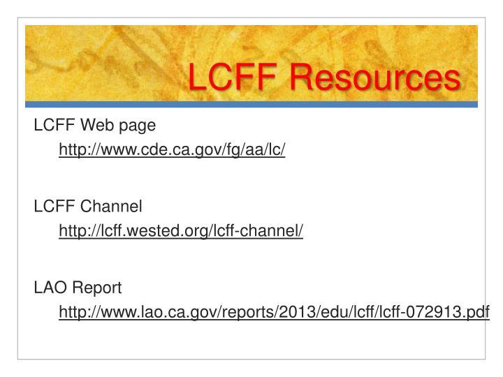 LCFF Resources