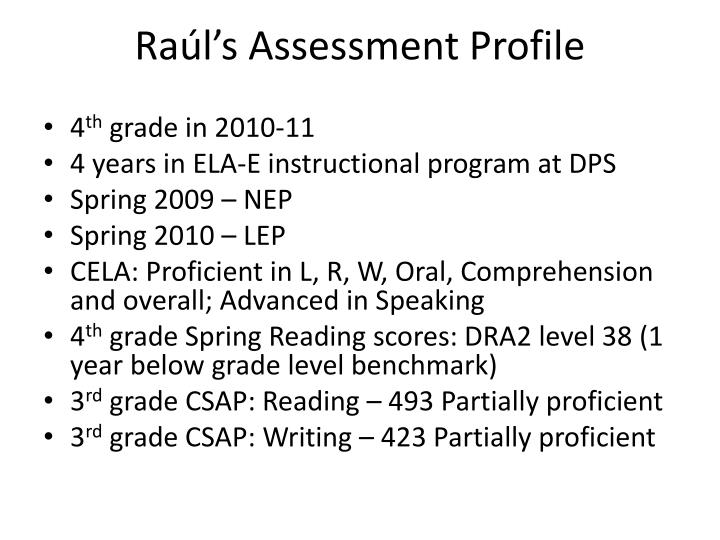 Ra l s assessment profile