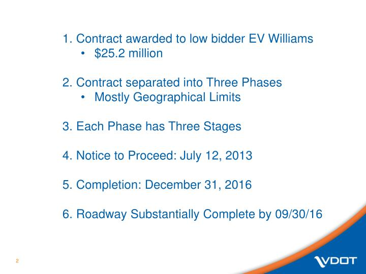 Contract awarded to low bidder EV Williams