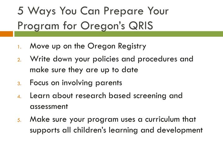 5 Ways You Can Prepare Your Program for Oregon's QRIS