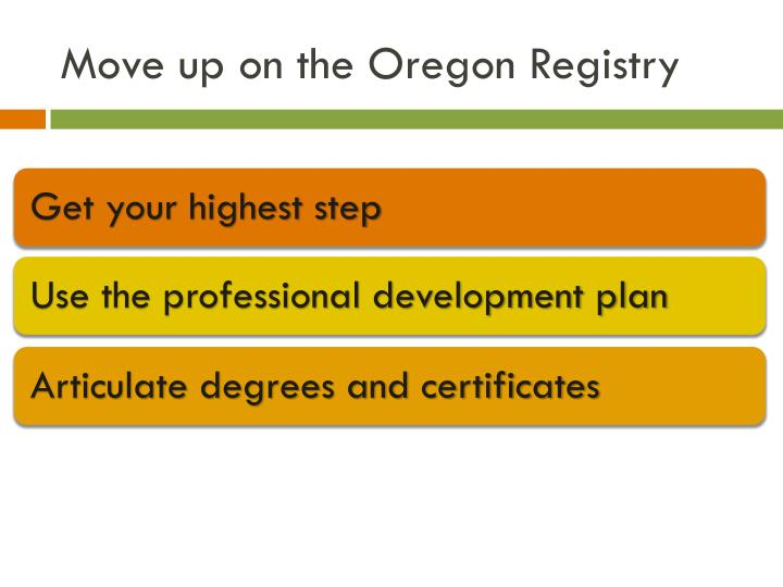 Move up on the Oregon Registry