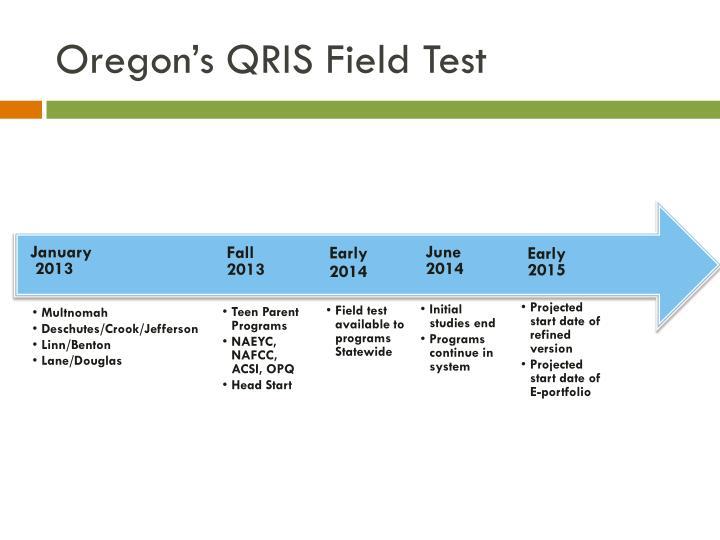 Oregon's QRIS Field Test