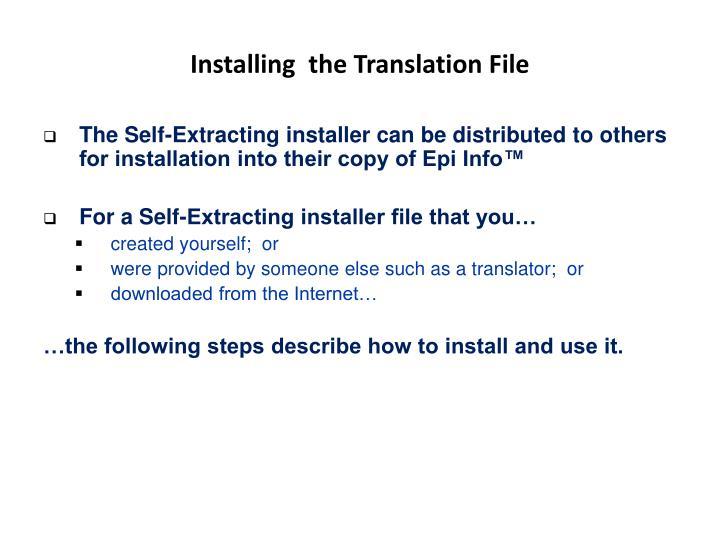 Installing  the Translation File