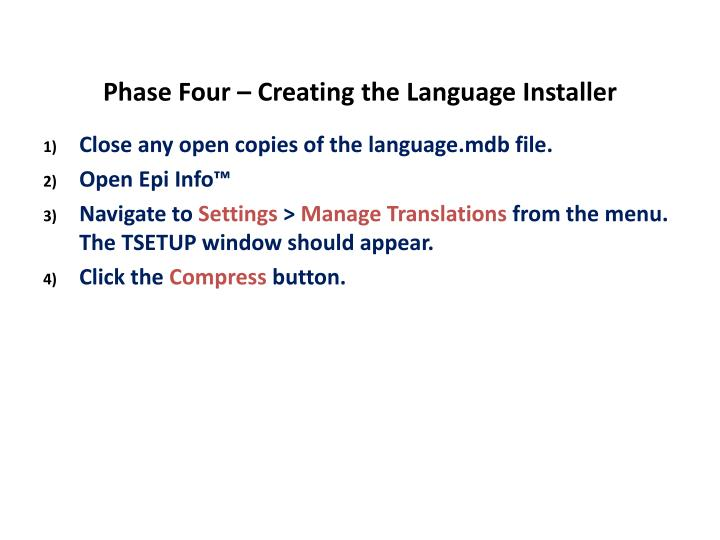 Phase Four – Creating the Language Installer