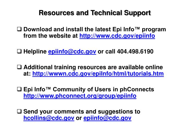 Resources and Technical Support