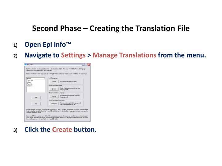 Second Phase – Creating the Translation File
