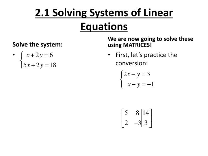 2 1 solving systems of linear equations n.