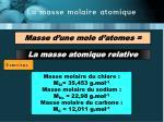la masse molaire atomique