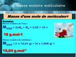 la masse molaire mol culaire