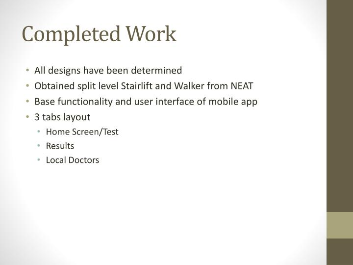 Completed Work