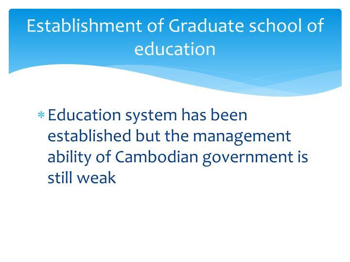 Establishment of Graduate school of