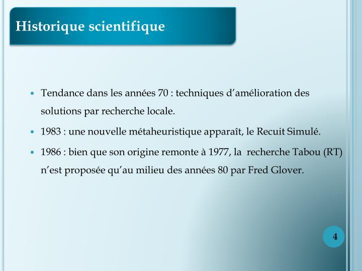 Historique scientifique