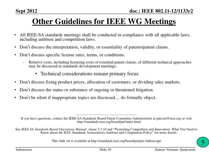 Other Guidelines for IEEE WG Meetings