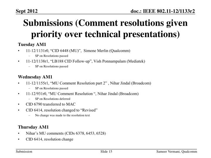 Submissions (Comment resolutions given priority over technical presentations)