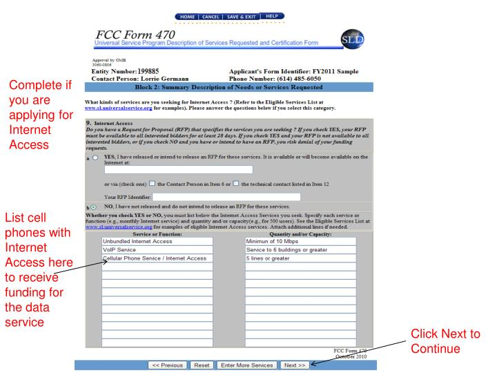 Complete if you are applying for Internet Access