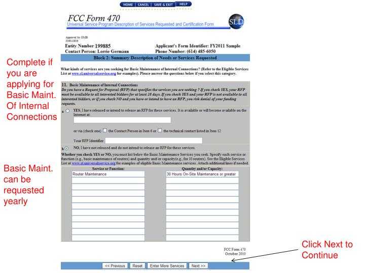 Complete if you are applying for Basic Maint. Of Internal Connections