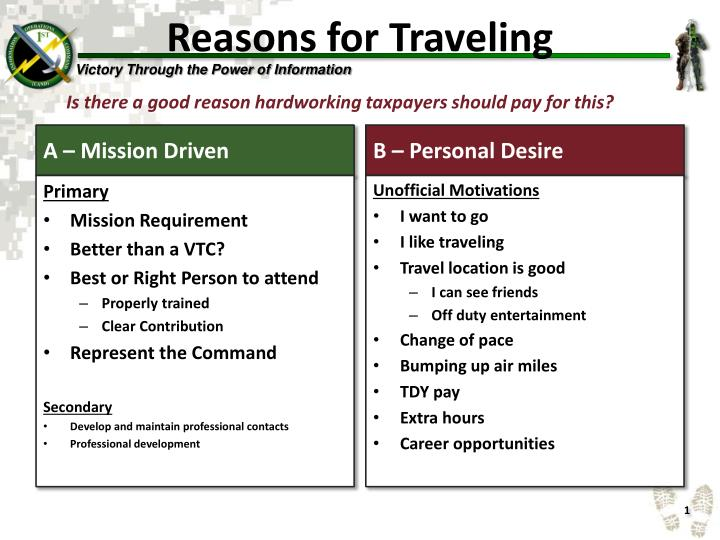 reasons for traveling