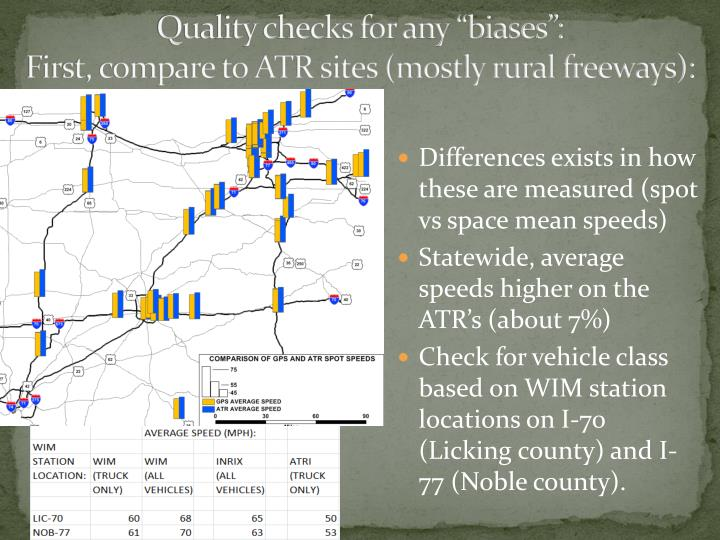 "Quality checks for any ""biases"":"