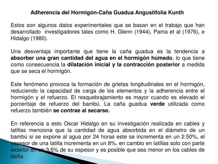 Adherencia del Hormigón-Caña Guadua Angustifolia Kunth