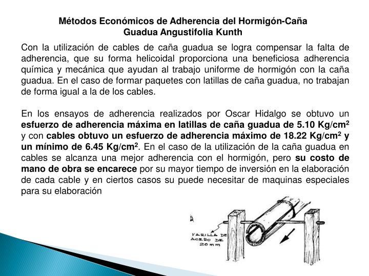 Métodos Económicos de Adherencia del Hormigón-Caña Guadua Angustifolia Kunth