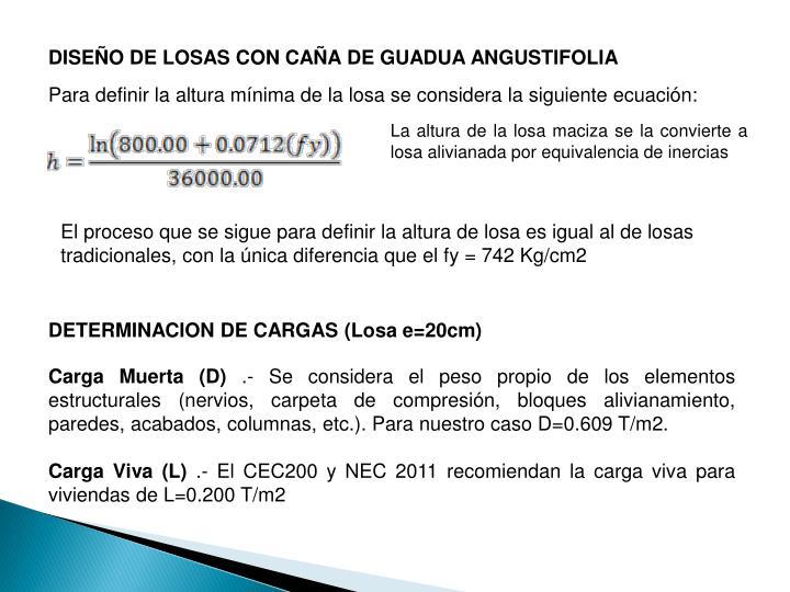 DISEÑO DE LOSAS CON CAÑA DE GUADUA ANGUSTIFOLIA