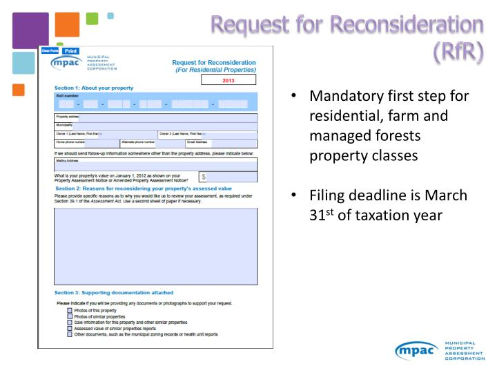 Request for Reconsideration (