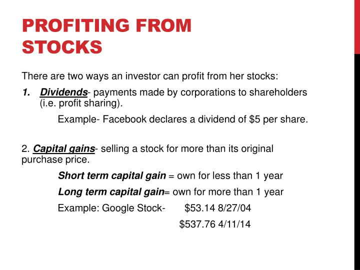 Profiting from stocks