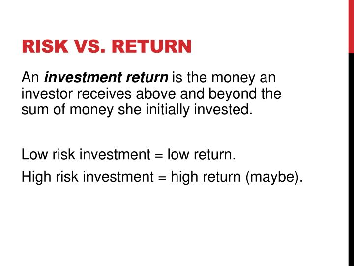 Risk vs return