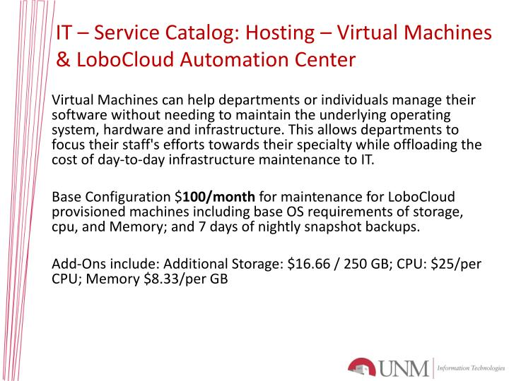IT – Service Catalog: Hosting – Virtual Machines & LoboCloud Automation Center