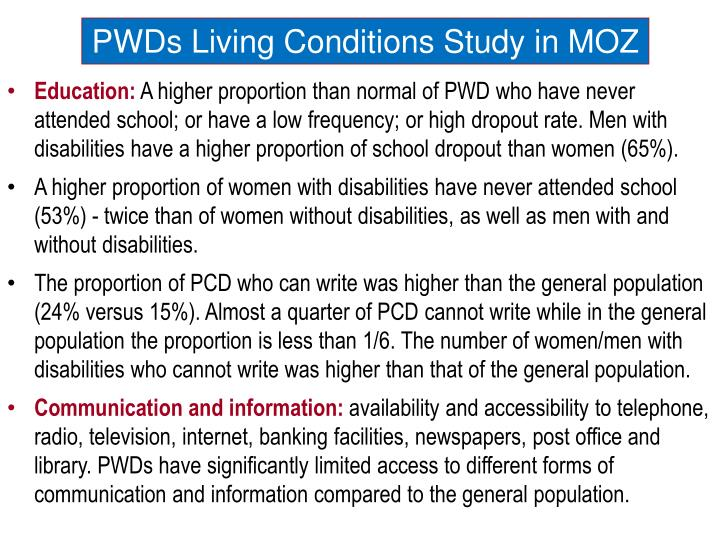 PWDs Living Conditions Study in MOZ