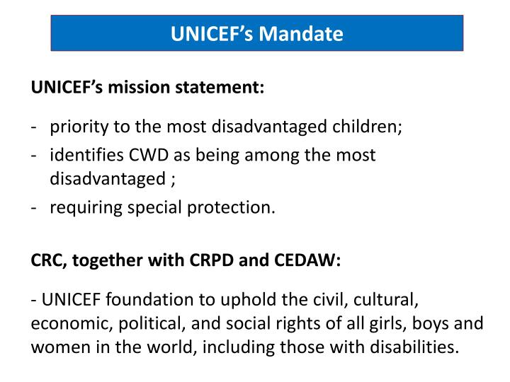 Unicef s mandate