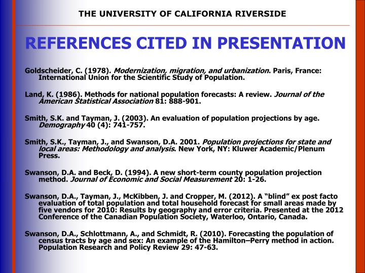 REFERENCES CITED IN PRESENTATION