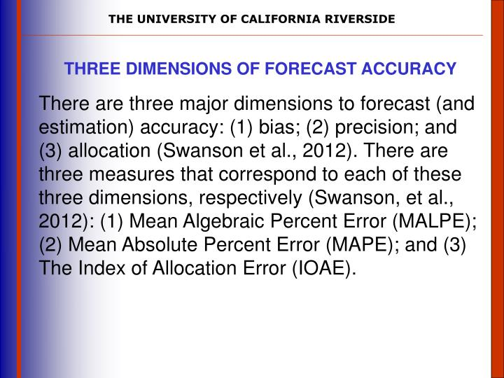 THREE DIMENSIONS OF FORECAST ACCURACY