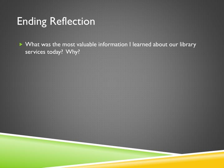Ending Reflection