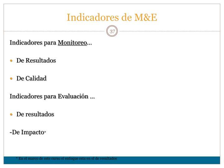 Indicadores de M&E