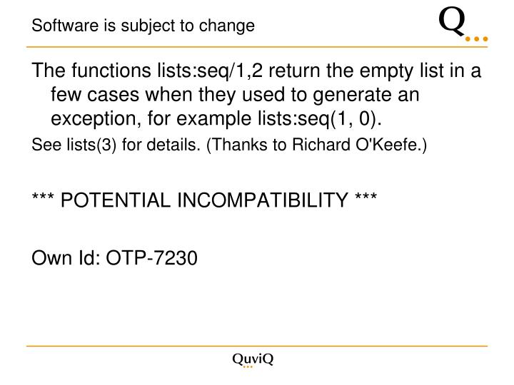 Software is subject to change