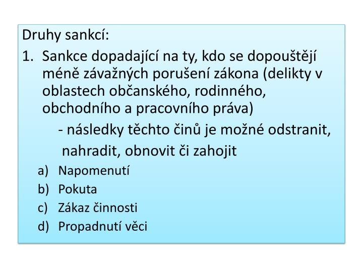 Druhy sankcí: