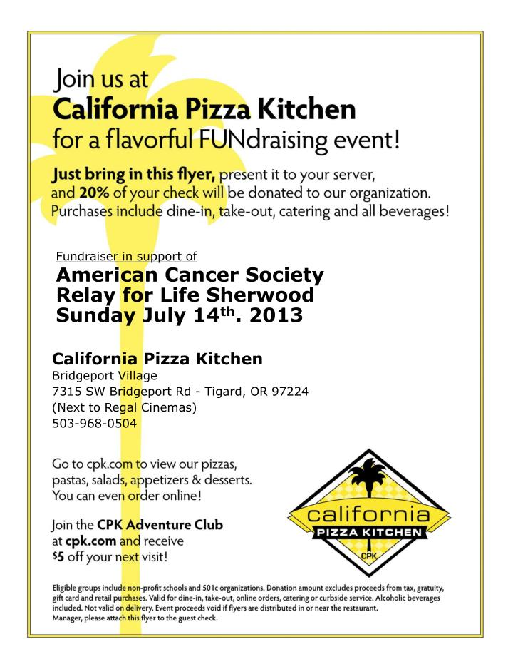 Fundraiser in support of american cancer society relay for life sherwood sunday july 14 th 2013