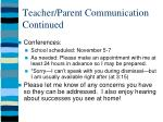 teacher parent communication continued