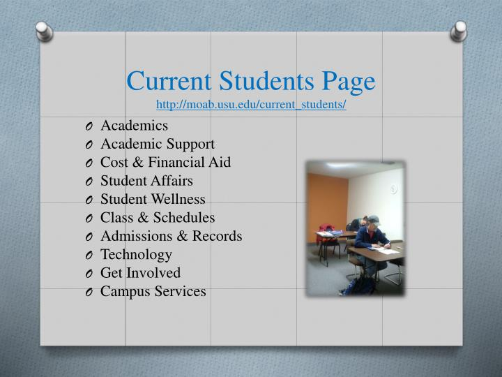 Current Students Page
