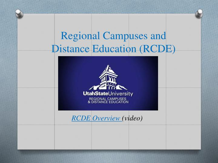 Regional campuses and distance education rcde