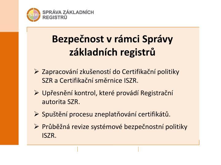 Bezpečnost v rámci Správy základních registrů