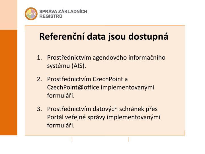 Referenční data jsou dostupná