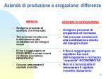 aziende di produzione e erogazione differenze
