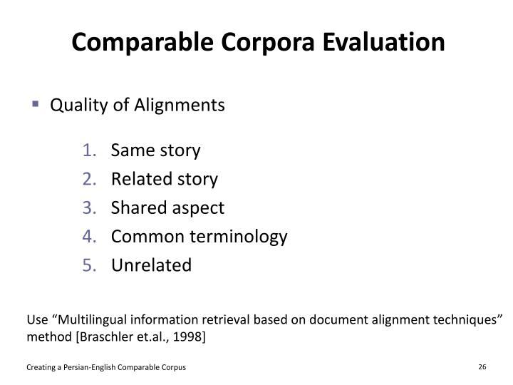 Comparable Corpora Evaluation