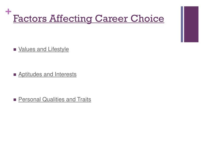 factors affect people s choice career Career choice factors 1  student's life affect the career choices they make: environment, opportunity, and  for example, sales people have to be outgoing.